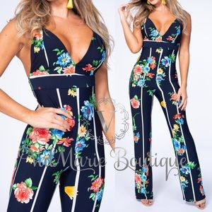 ARRIVES 4/25 - Floral stripe navy jumpsuit